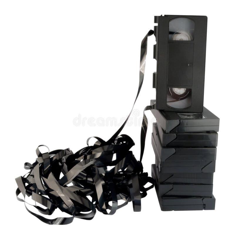 isolerade retro utformade videocassettes royaltyfria foton