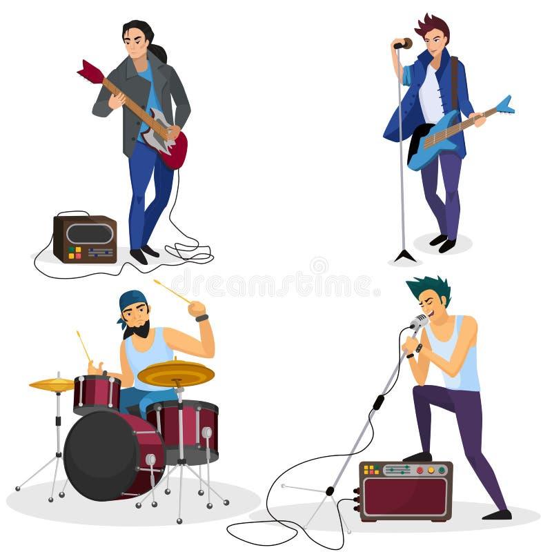 Isolerade rockbandmedlemmar Sångare för musikalisk grupp, handelsresande, illustration för vektor för tecknad film för gitarrspel royaltyfri illustrationer