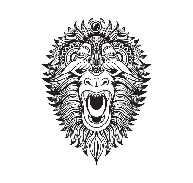 Isolerade rov- ovanliga för vektorillustration grinar abstrakt begrepp dekorerat svart linjärt klotter för löst djur snömannen royaltyfri illustrationer