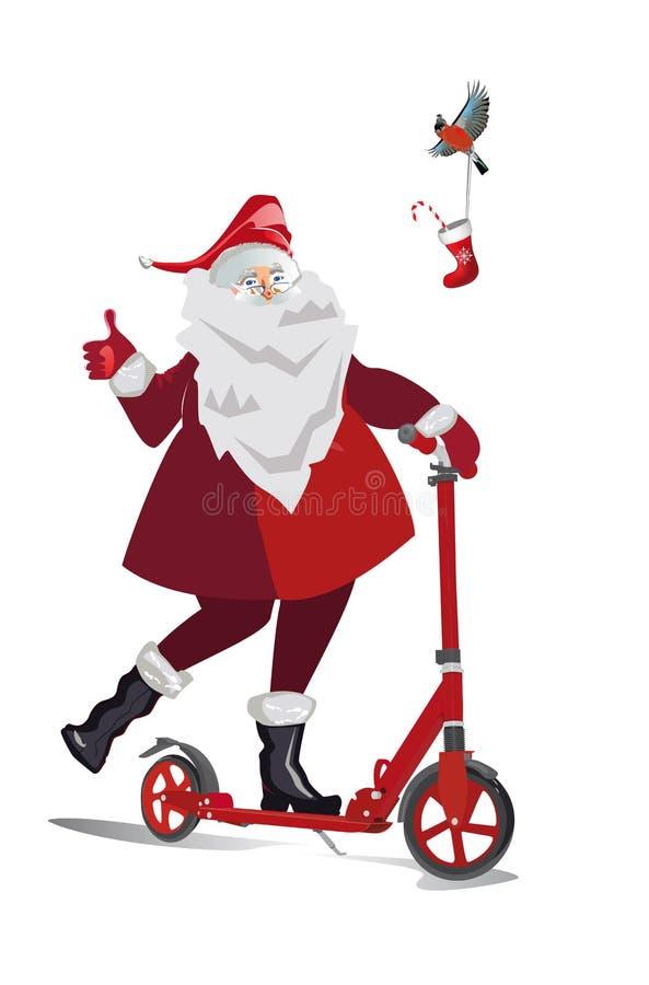 Isolerade Santa Claus med gåvor på en vit bakgrund Skridskor och en sparkcykel stock illustrationer