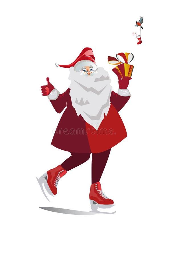 Isolerade Santa Claus med gåvor på en vit bakgrund Skridskor och en sparkcykel royaltyfri illustrationer