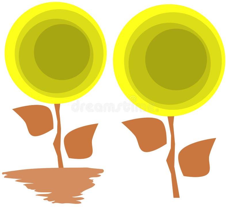 Isolerade stiliserade blommor royaltyfri illustrationer