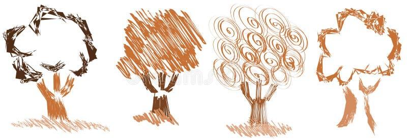 Isolerade stiliserade träd royaltyfri illustrationer