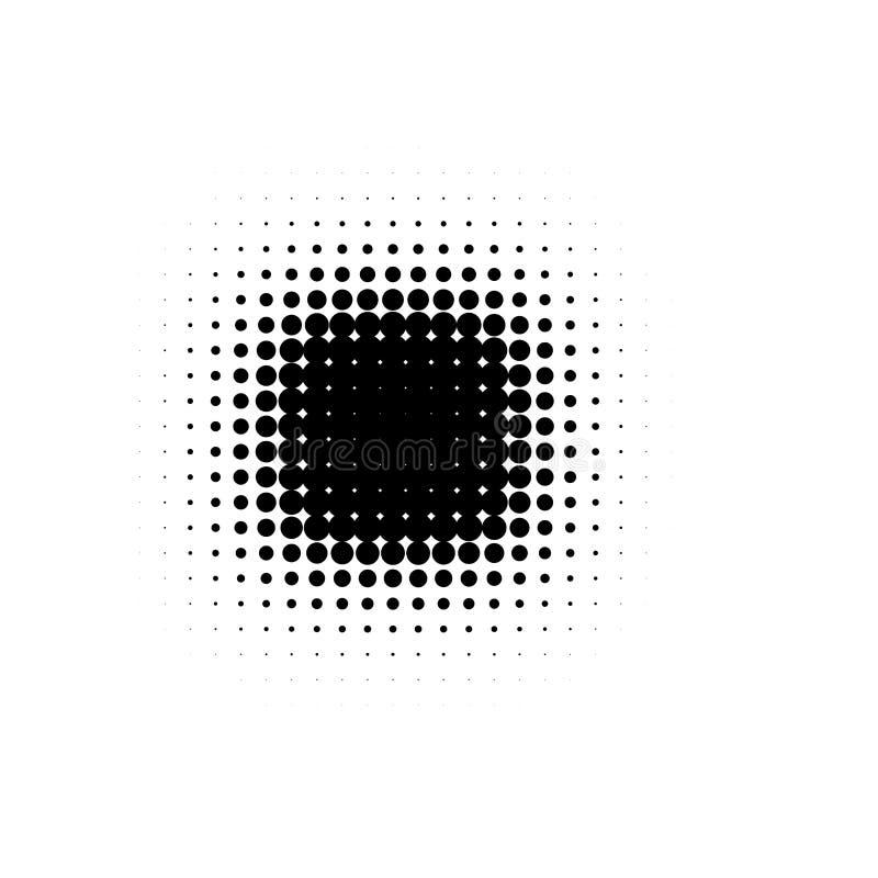 Isolerade svarta komiker för tecknad film för rund form för färgabstrakt begrepp rastrerade prickiga bläckar ner bakgrund, dekora royaltyfri illustrationer