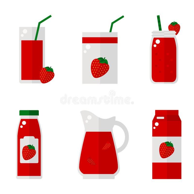 Isolerade symboler för jordgubbe fruktsaft på vit bakgrund stock illustrationer