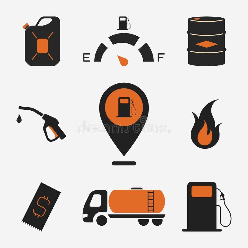 Isolerade symboler för vektorbränslestation royaltyfri illustrationer