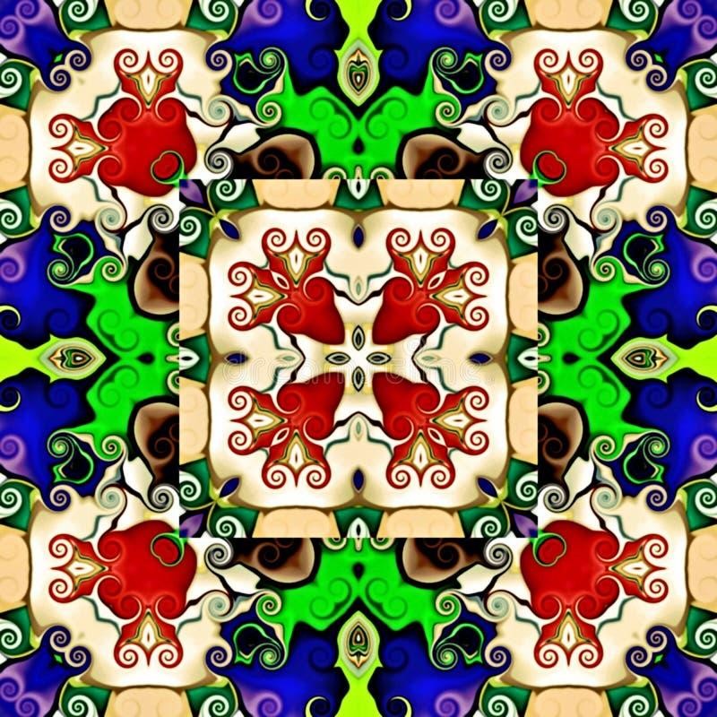 isolerade täta datordiagram för bakgrund upp white Illustration av en abstrakt blom- bakgrund, psykedelisk symmetrisk prydnad Tra royaltyfri illustrationer