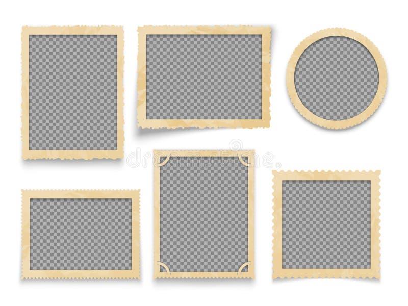 Isolerade tappningfotoramar Gränsar den antika bilden för vektorn samlingen royaltyfri illustrationer