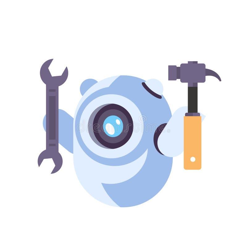 Isolerade teknologi för chatbot för konstgjord intelligens för begreppet för reparationen för service för skiftnyckeln för pratst stock illustrationer