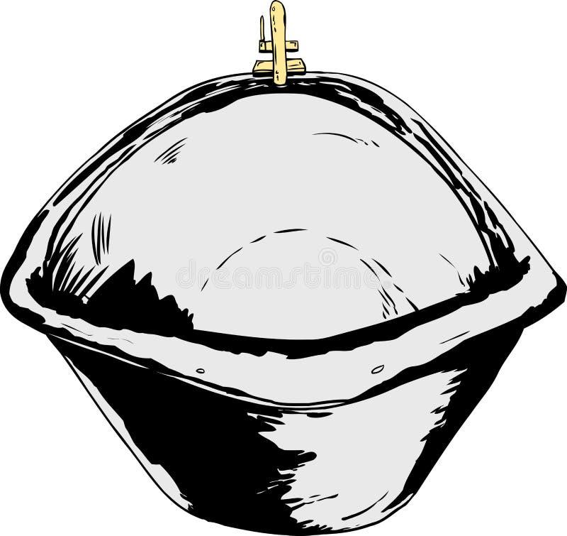 Isolerade tomma badar med mässingsvattenkranen stock illustrationer
