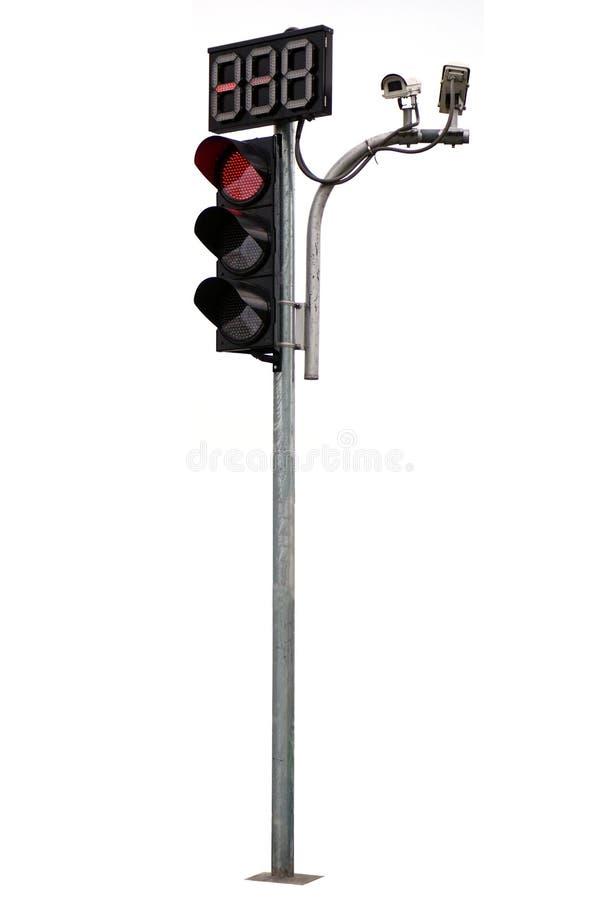 isolerade trafikljus för röd färg och cctv royaltyfria bilder