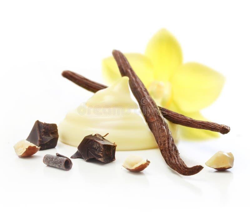 Isolerade vaniljfröskidor och kräm royaltyfri fotografi