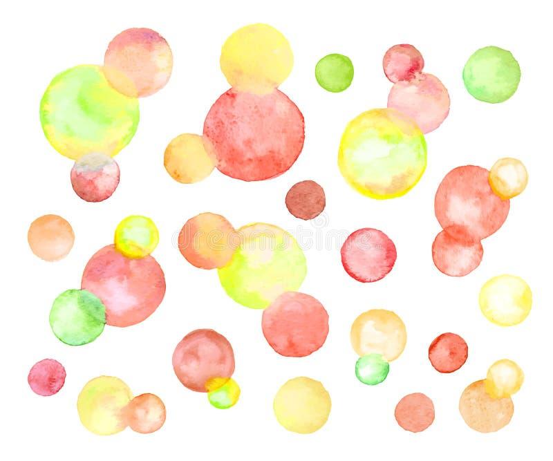 Isolerade vattenfärgcirklar vektor illustrationer