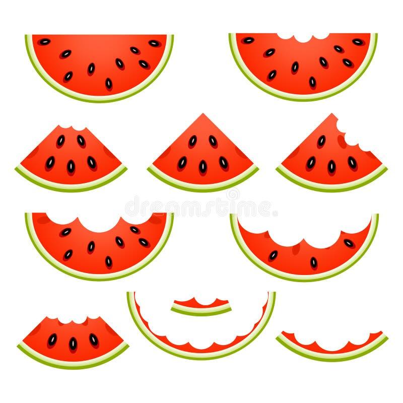 Isolerade vattenmelonskivor stock illustrationer