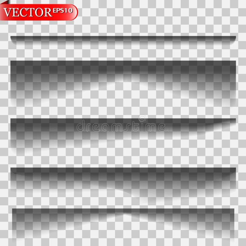 Isolerade vektorskuggor vektor illustrationer