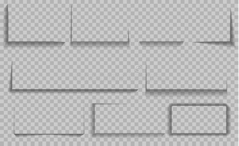 Isolerade vektorskuggor St?ll in av runda och fyrkantiga skuggaeffekter vektor illustrationer