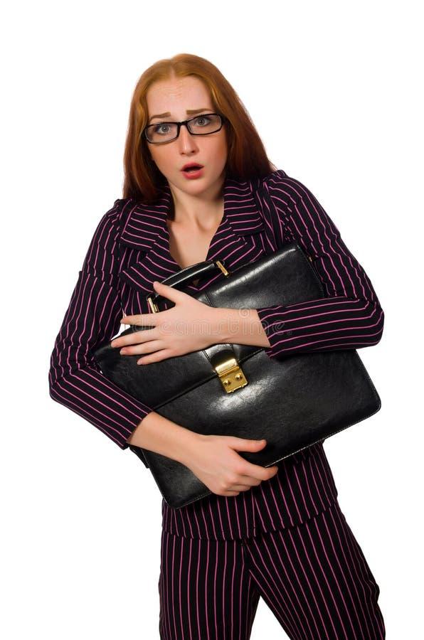 Isolerade vita bakgrunden för kvinnaaffärskvinna den begrepp royaltyfri fotografi