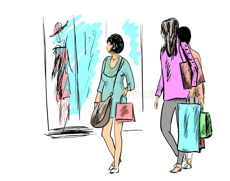 isolerar blonda blåa dagögon för påsar shopping som tar white royaltyfri illustrationer