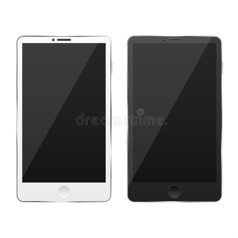 Isoleras tekniskt avancerade moderna smartphones för vit och för svart på en vit bakgrund Sken på skärmen Handlag avskärmer Glans stock illustrationer