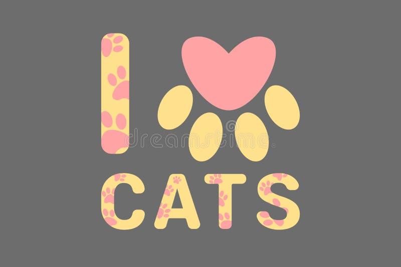Isolerat älskar jag gul text för katter med den rosa hunden, eller katten tafsar tryck Typografi med trycket för djur fot Rosa hj royaltyfria foton