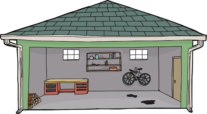 Isolerat öppet garage med cykeln vektor illustrationer