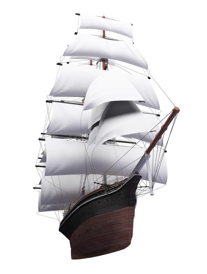 isolerat över seglingshipwhite royaltyfri illustrationer
