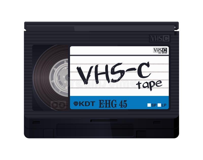 Isolerat band för tappning VHS-C Kulör illustration för vektor på ljus bakgrund Original- retro objekt stock illustrationer