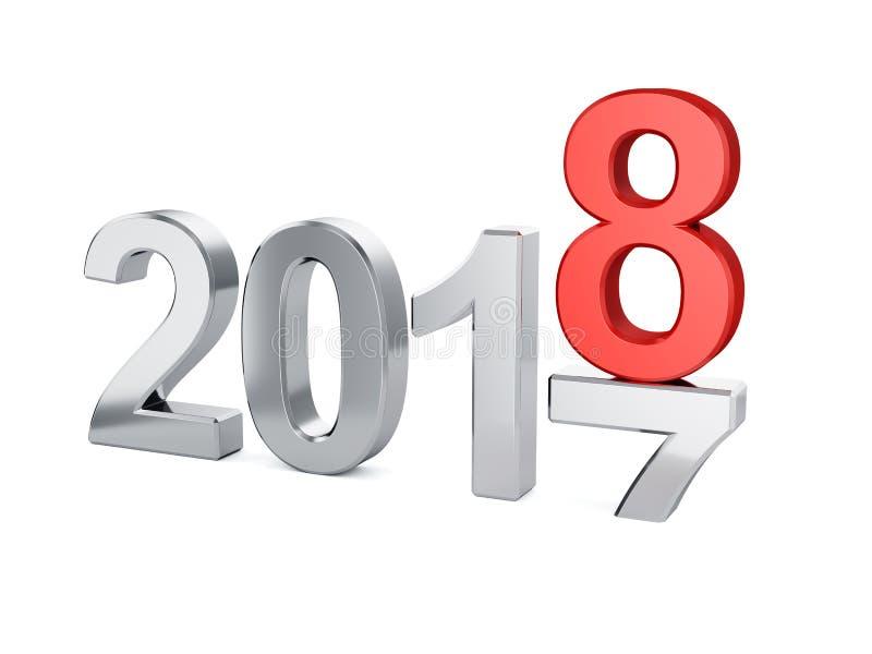 Isolerat begrepp för nytt år 2018 stock illustrationer