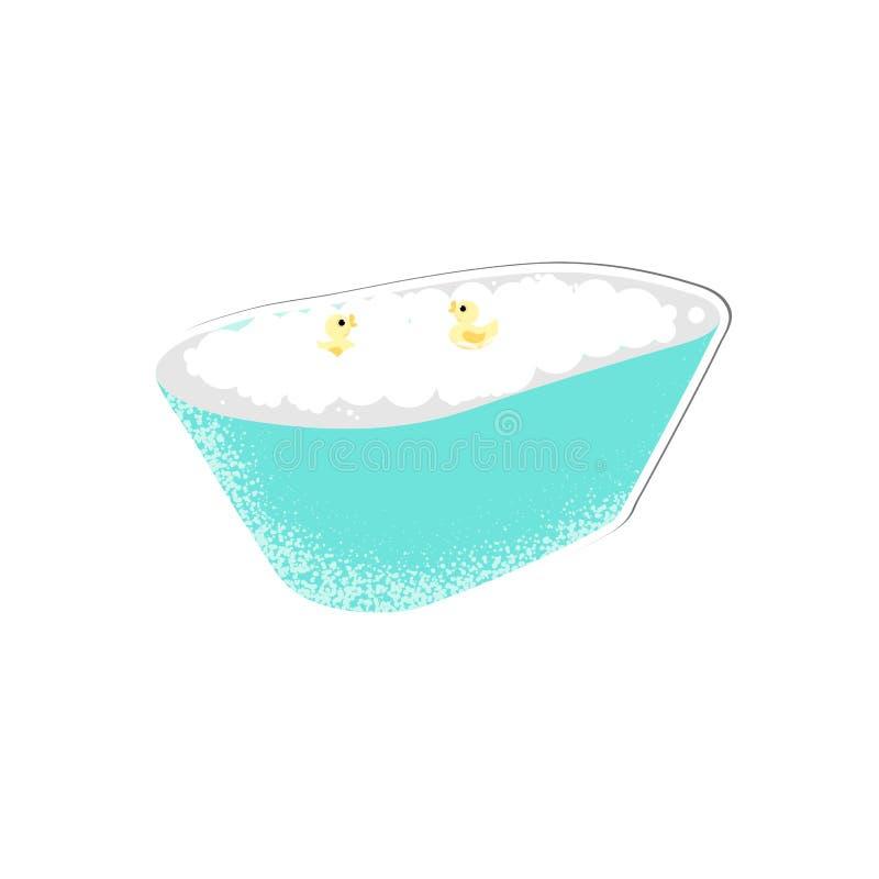 Isolerat behandla som ett barn badet med bubblor royaltyfri illustrationer