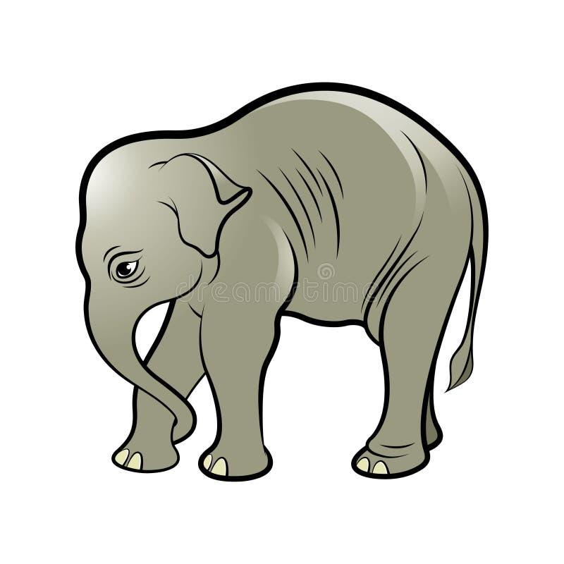 Isolerat behandla som ett barn elefanten i färg royaltyfri illustrationer