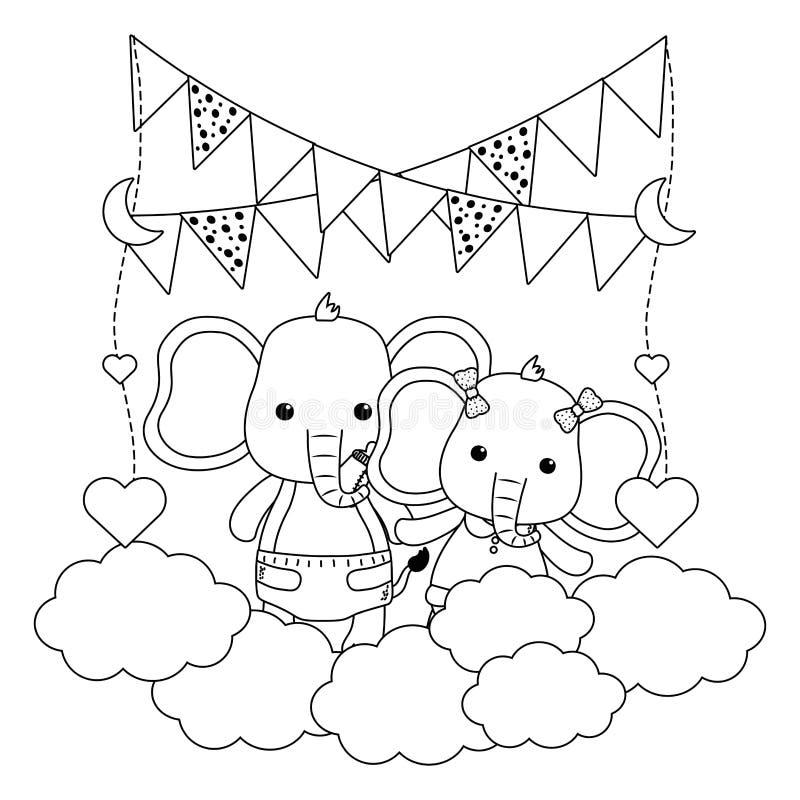 Isolerat behandla som ett barn elefanter planlägger vektorillustratören stock illustrationer