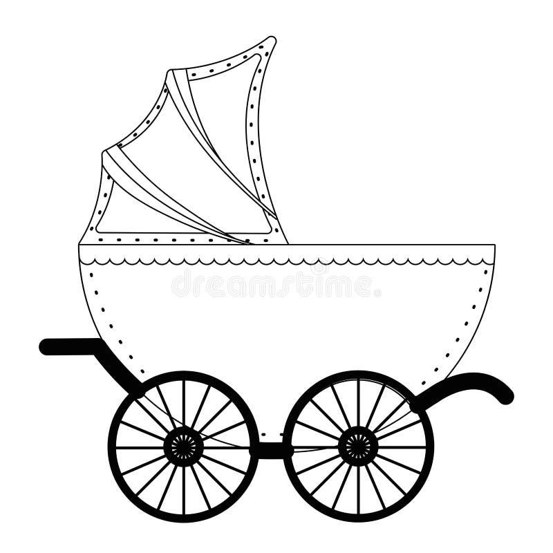 Isolerat behandla som ett barn illustrationen för sittvagndesignvektorn stock illustrationer
