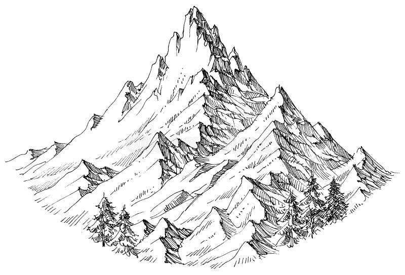 Isolerat bergmaximum vektor illustrationer