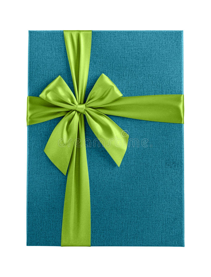 Isolerat blått band för gräsplan för gåvaask royaltyfri bild