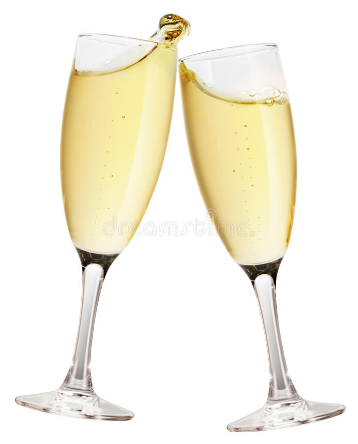 isolerat champagneexponeringsglas arkivbilder