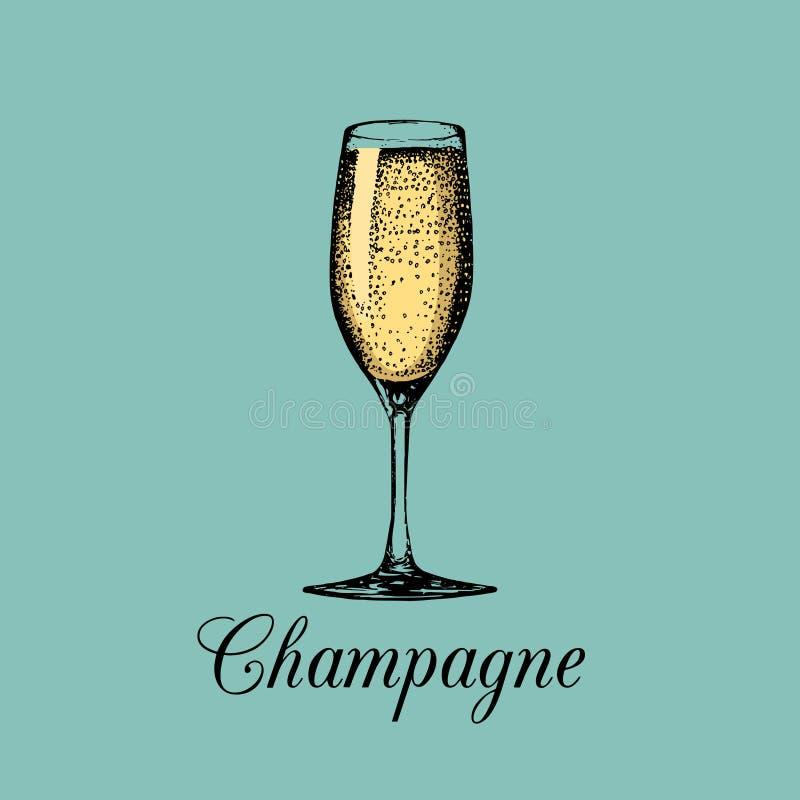 Isolerat champagneexponeringsglas Den drog vektorhanden skissar av spumante Alkoholdrycklogo Ett vitt mousserande vintecken vektor illustrationer