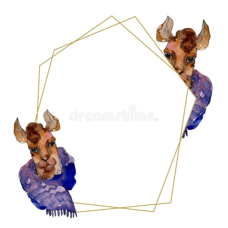 Isolerat djur för lama för tecknad filmtecken i en vattenfärgstil Vattenfärgillustrationuppsättning Seamless bakgrund mönstrar royaltyfri illustrationer