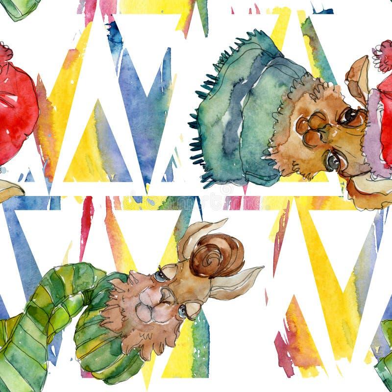 Isolerat djur för lama för tecknad filmtecken i en vattenfärgstil Vattenfärgillustrationuppsättning Seamless bakgrund mönstrar vektor illustrationer