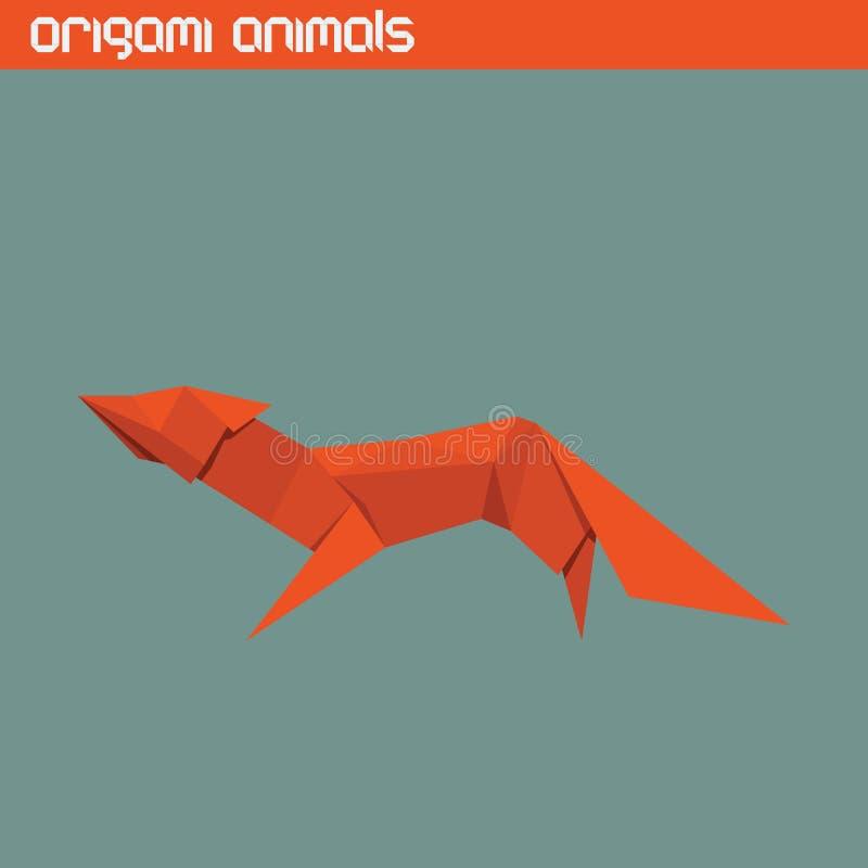 Isolerat djur för vektor origami gullig räv stock illustrationer
