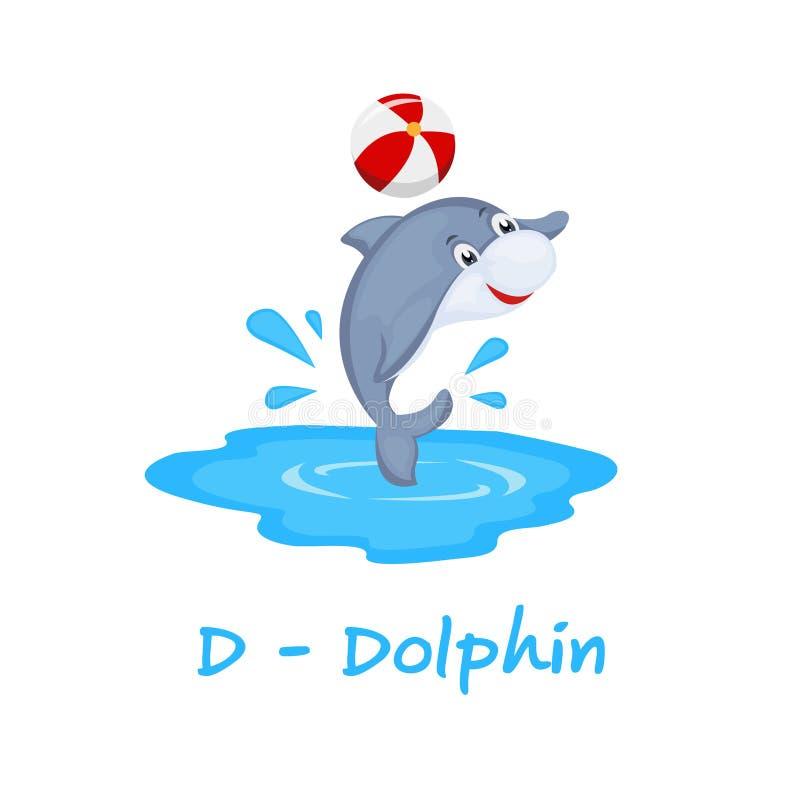 Isolerat djurt alfabet för ungarna, D för delfin vektor illustrationer