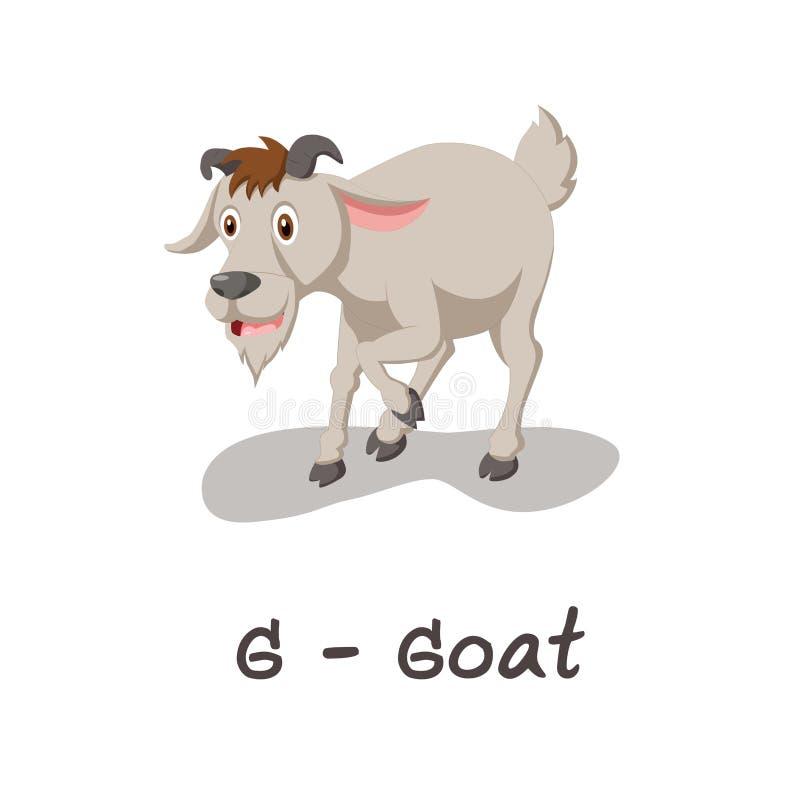 Isolerat djurt alfabet för ungarna, G för get royaltyfri illustrationer