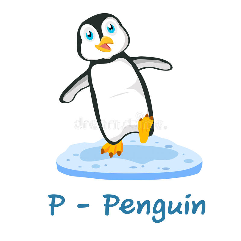 Isolerat djurt alfabet för ungarna, P för pingvin royaltyfri illustrationer