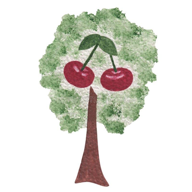 Isolerat dragit körsbärsrött träd för vattenfärg hand stock illustrationer