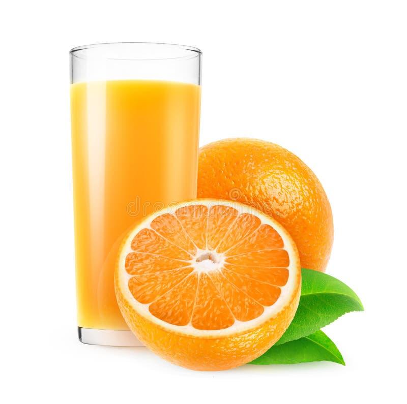Isolerat exponeringsglas av orange fruktsaft och frukter royaltyfria bilder