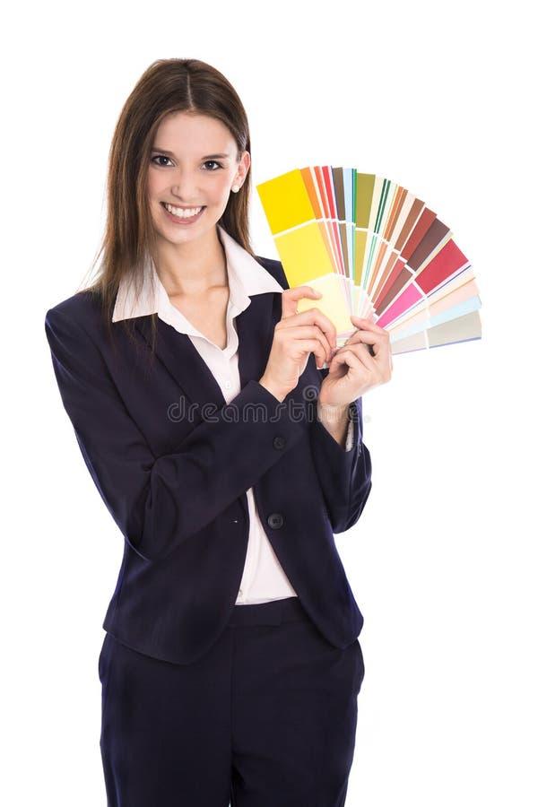 Isolerat färgar att le försäljningar för affärskvinna för väggar hemma royaltyfri foto
