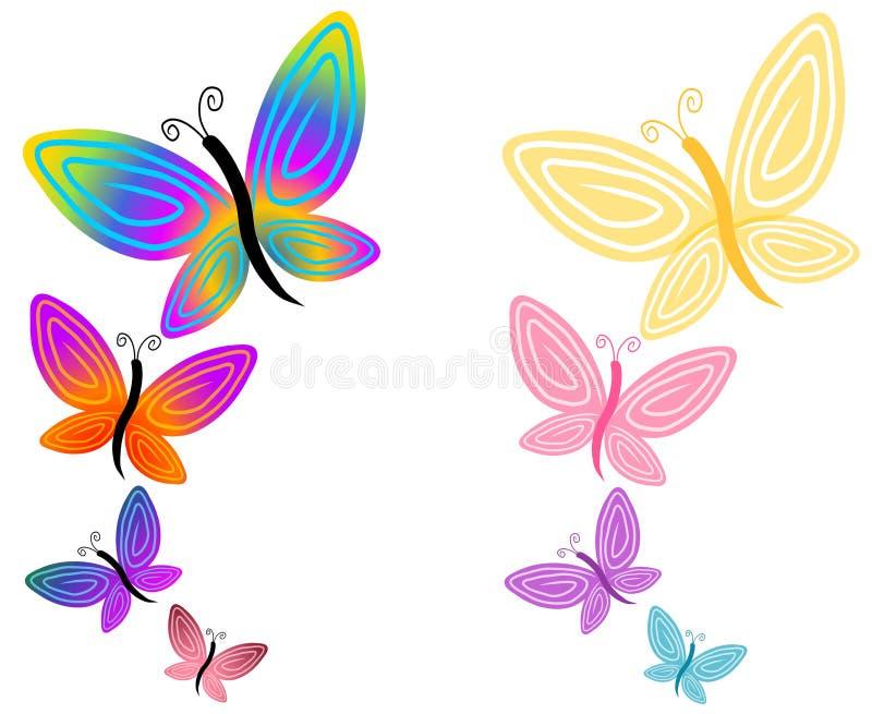 isolerat färgrikt för fjärilar stock illustrationer