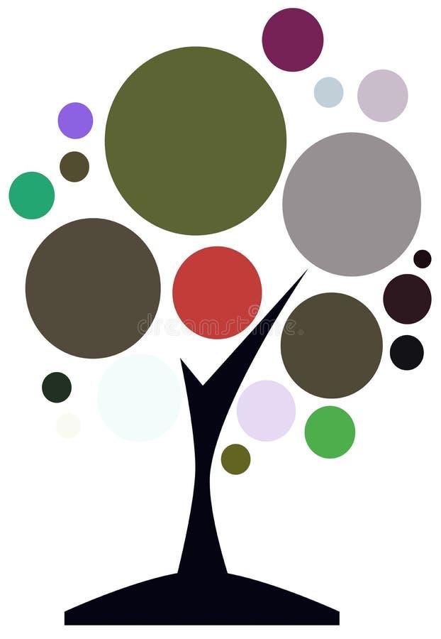 Isolerat färgrikt isolerat stiliserat träd vektor illustrationer
