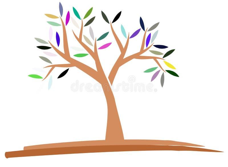 Isolerat färgrikt isolerat stiliserat träd royaltyfri illustrationer