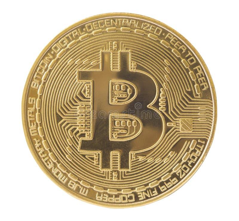 Isolerat faktiskt mynt för guld- bitcoin arkivbild