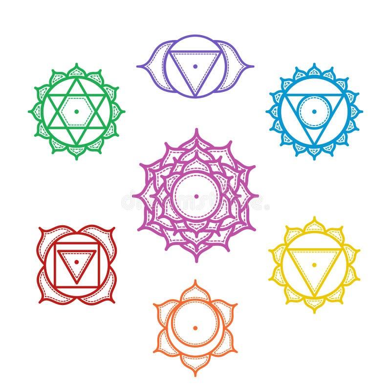 Isolerat fastställt av härliga indiska dekorativa 7 chakras Vektor il vektor illustrationer